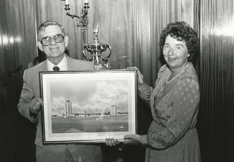 Left: Paul Kirk and his wife with a presentation photograph to the Lord Mayor of Portsmouth at IMMS 4; Right: Norman Whitney and J.K. Misra